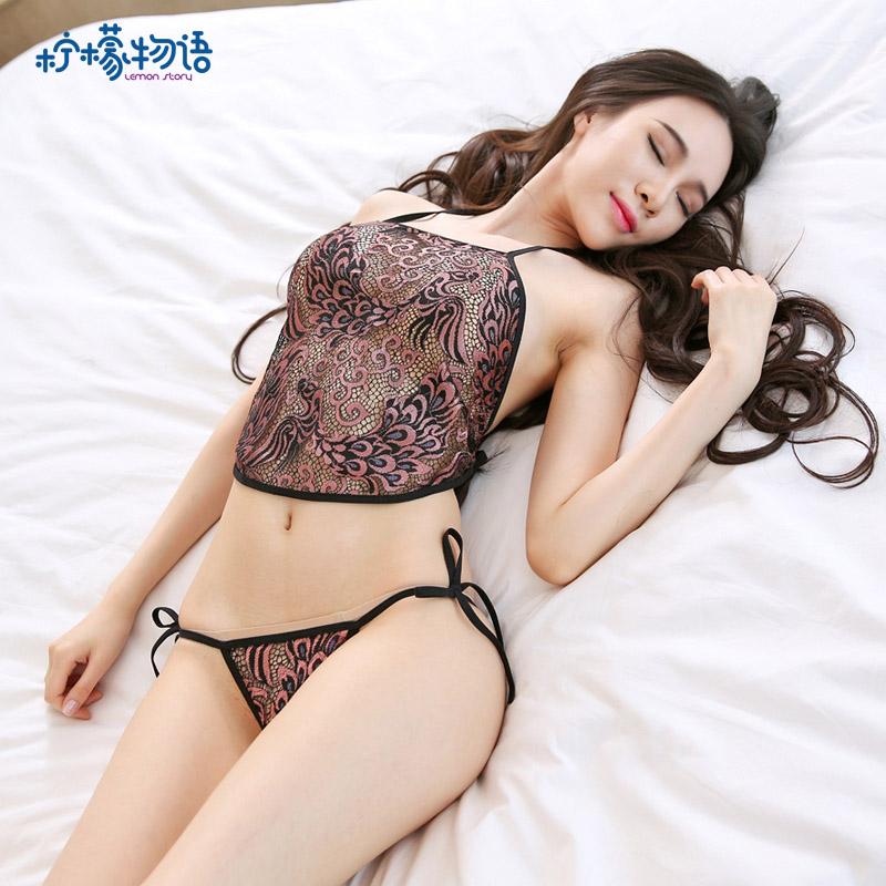 性感透视绣花肚兜制服诱惑套装 柠檬物语-黑色