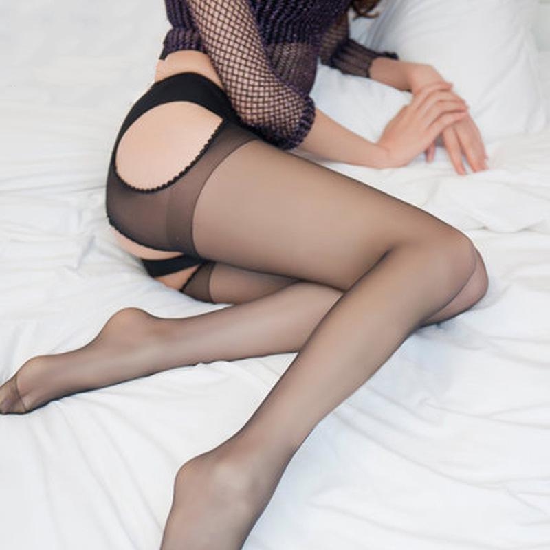 连裤袜开档丝袜-黑色