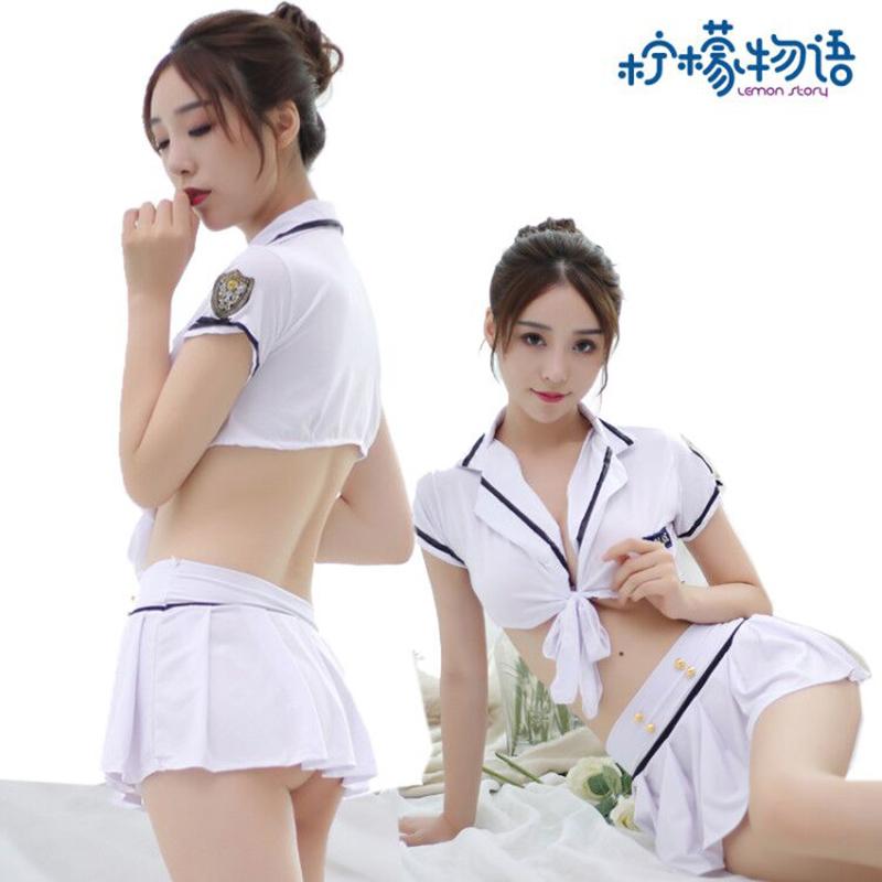 女警空姐包臀短裙制服诱惑套装 柠檬物语-白色套装