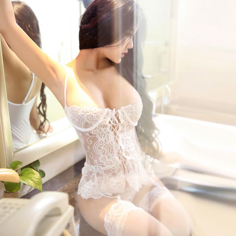 性感蕾丝钢托马甲胸托聚拢吊袜带套装 柠檬物语-白色