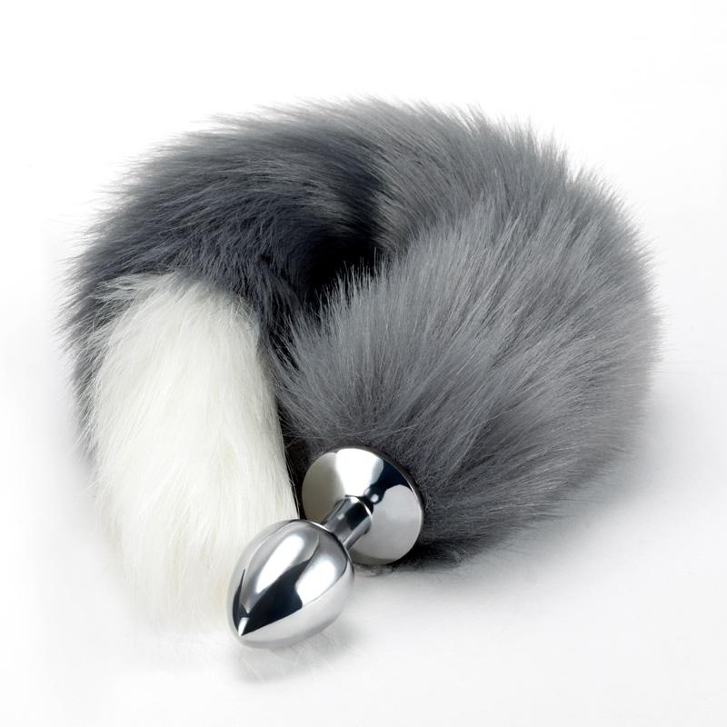 灰白狐尾肛塞SM 美加奴-小号铬色栓+灰白相间尾巴